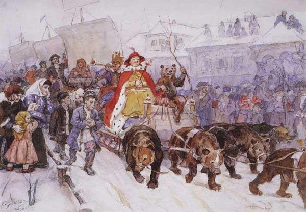 Маскарад Петра Первого на улицах Москвы